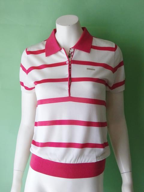 シルクサマーセーター衿付半袖【ピンクボーダー模様】【ポロシャツ】【カットソー】【シルクシャツ】