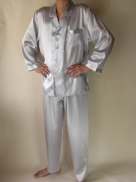 【あす楽】【送料無料】シルクパジャマ長袖紳士【シルバー】シルク100%大きいサイズ XXL→XXXL揃えています紳士用20色柄《ブランド嬌奴》の商品については、製造中止により在庫限りになりました。
