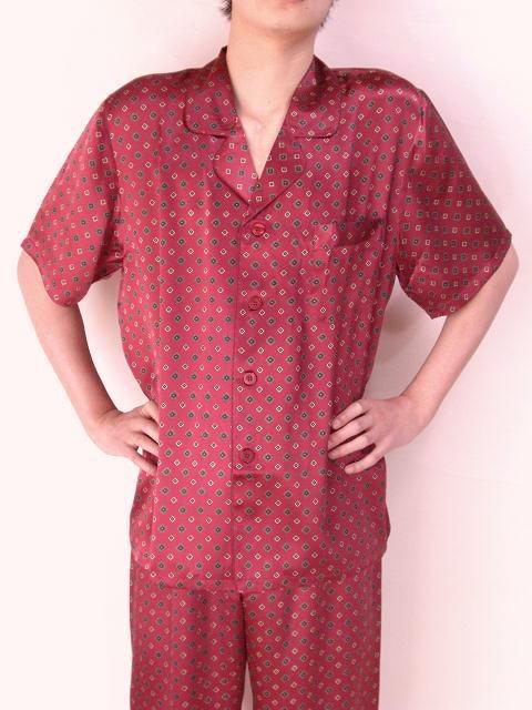 【あす楽】【送料無料】シルクパジャマ半袖紳士【エンジ柄】シルク100%M→XXXL揃え《ブランド嬌奴》紳士用20色柄《ブランド嬌奴》の商品については、製造中止により在庫限りになりました。