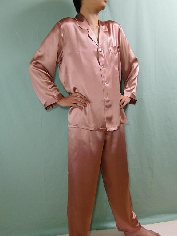 【あす楽】【送料無料】シルクパジャマ紳士長袖 【小豆色】シルク100%大きいサイズ XXL→XXXL揃えています紳士用20色柄《ブランド嬌奴》の商品については、製造中止により在庫限りになりました。