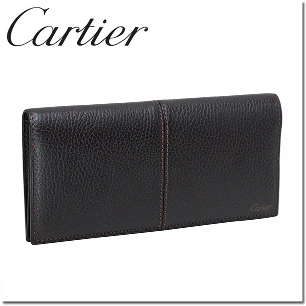 【送料無料】カルティエ長財布(小銭入れなし) サドルステッチ エボニー L3001161 Cartier