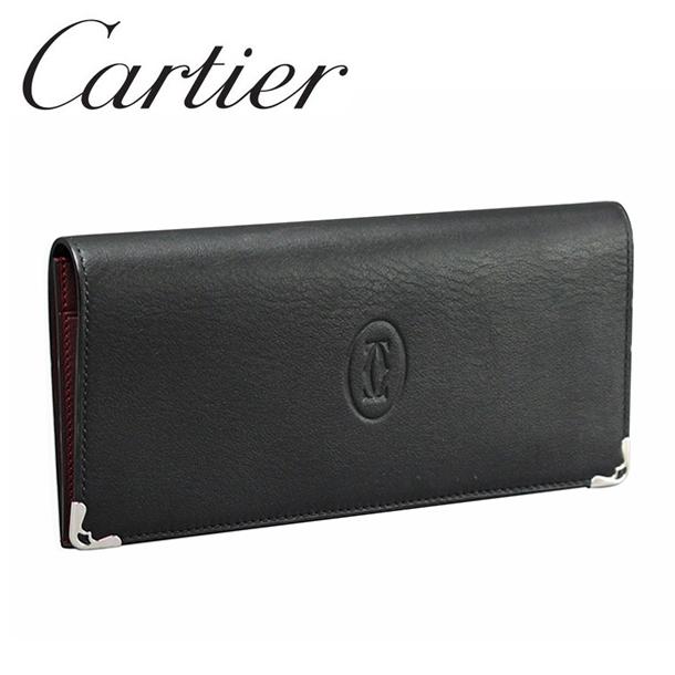 カルティエ 長財布小銭入れなし ブラック×ボルドー マスト ドゥ カルティエ L3001361