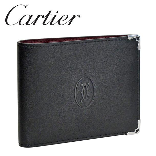 カルティエ 折り財布小銭入れなし ブラック/ボルドー マスト ドゥ カルティエ L3001548