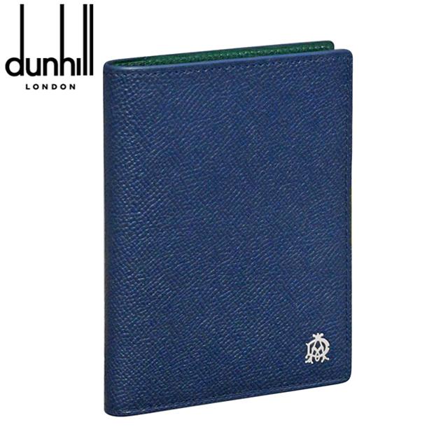 ダンヒル パスポートケース 手帳カバー ネイビー×グリーン ボードン L2X273N