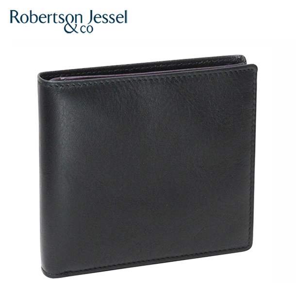 ロバートソン ジェッセル 折り財布小銭入れなし ブラック×パープル S11007