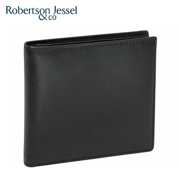 ロバートソン ジェッセル 2つ折り財布カード8枚(小銭入れなし) カーフ ブラック S11007 Robertson Jessel