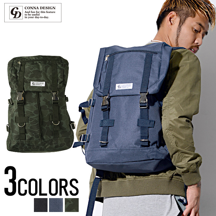 """""""CONNA DESIGN metal buckle back pack (backpack) and 3 colors"""""""