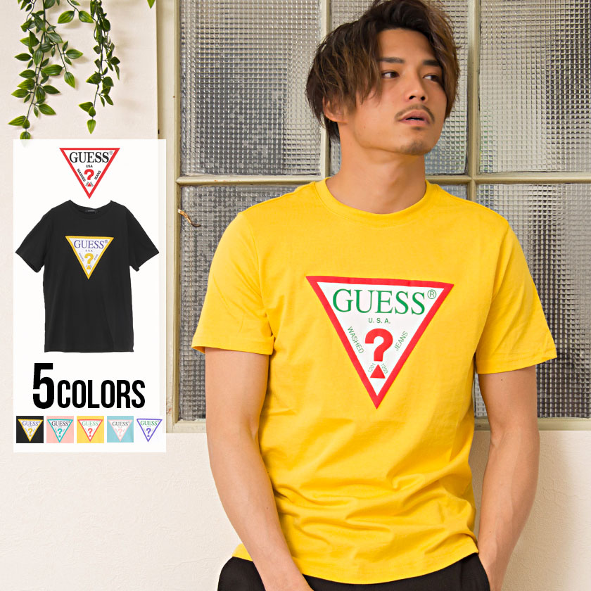 All Mens Sale Guess >> All Five Colors Of Short Sleeved T Shirt Men Guess Color Triangle Logo Crew Neck Short Sleeves T Shirt Sale