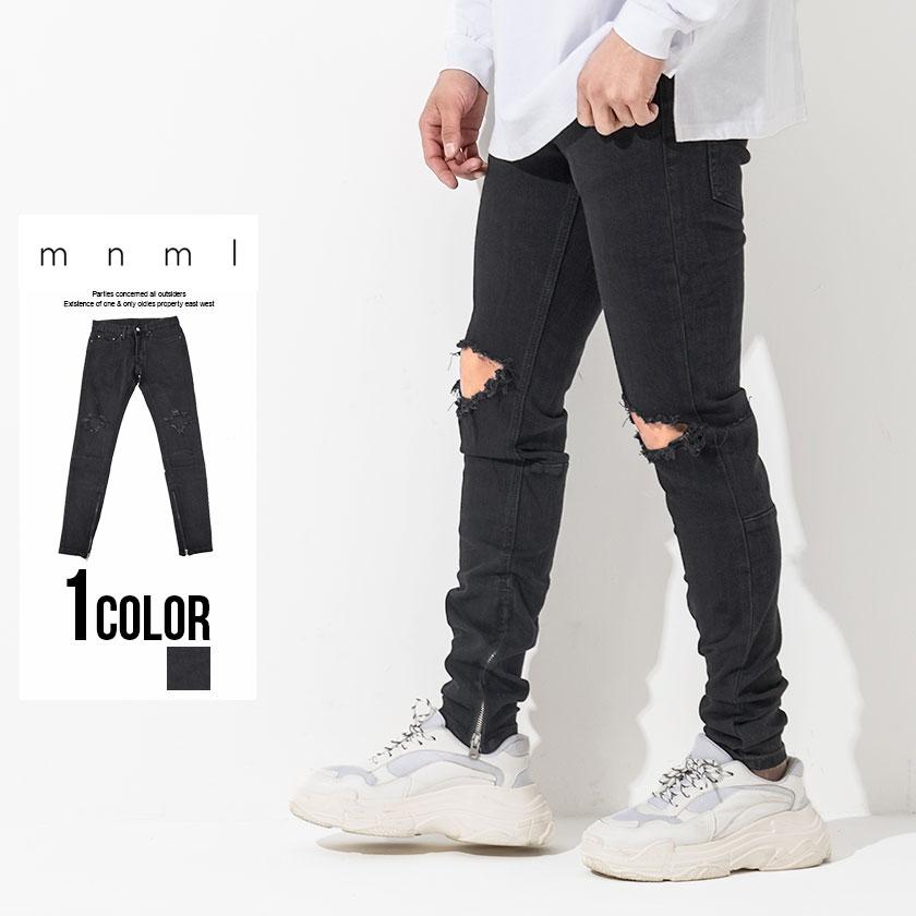 メンズ デニム パンツ ストレッチ 裾ジップ クラッシュ ウォッシュ加工