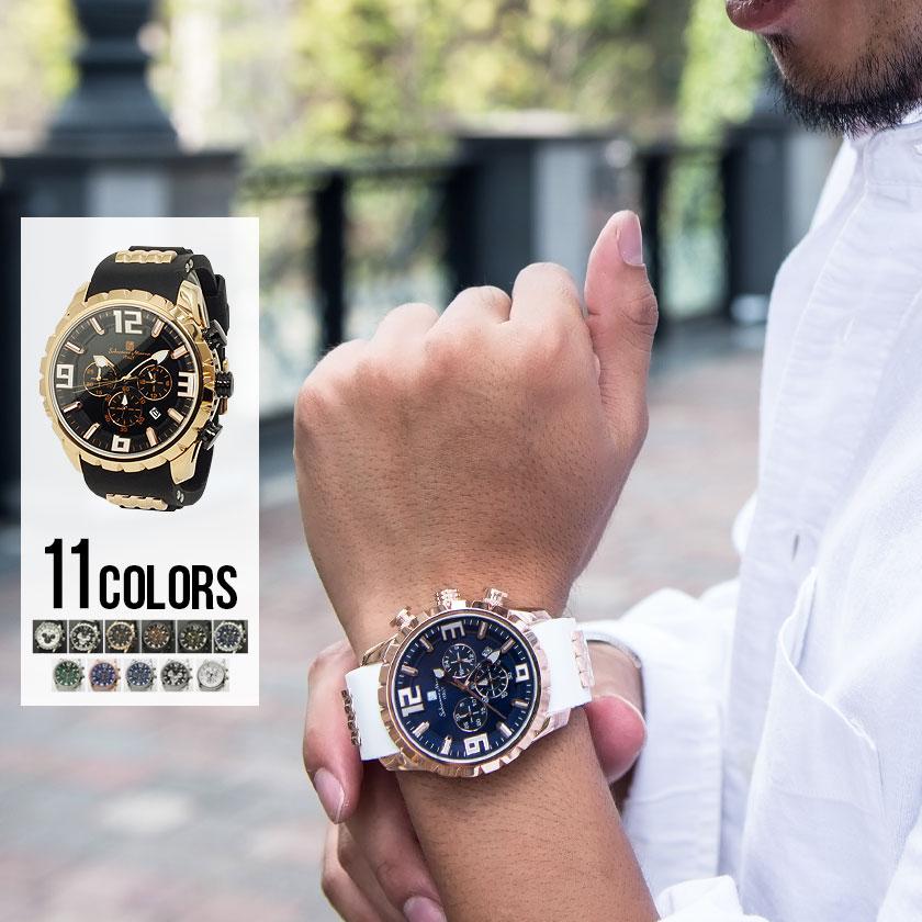 メンズ 腕時計 ウォッチ ラバーベルト クォーツ【お取り寄せ商品】