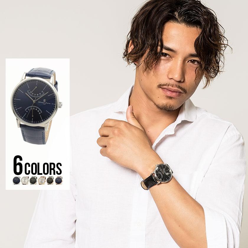 メンズ ウォッチ 腕時計 クォーツ 本日の目玉 レザーベルト 日付 プレゼント ギフト ブラック シルバー ネイビー ステンレス 全6色
