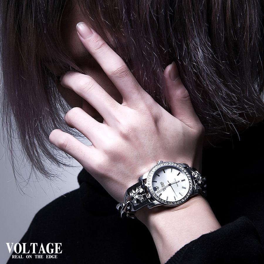 ウォッチ 腕時計 チェーンベルト スワロフスキー クリスタル クロス シルバー ブラック