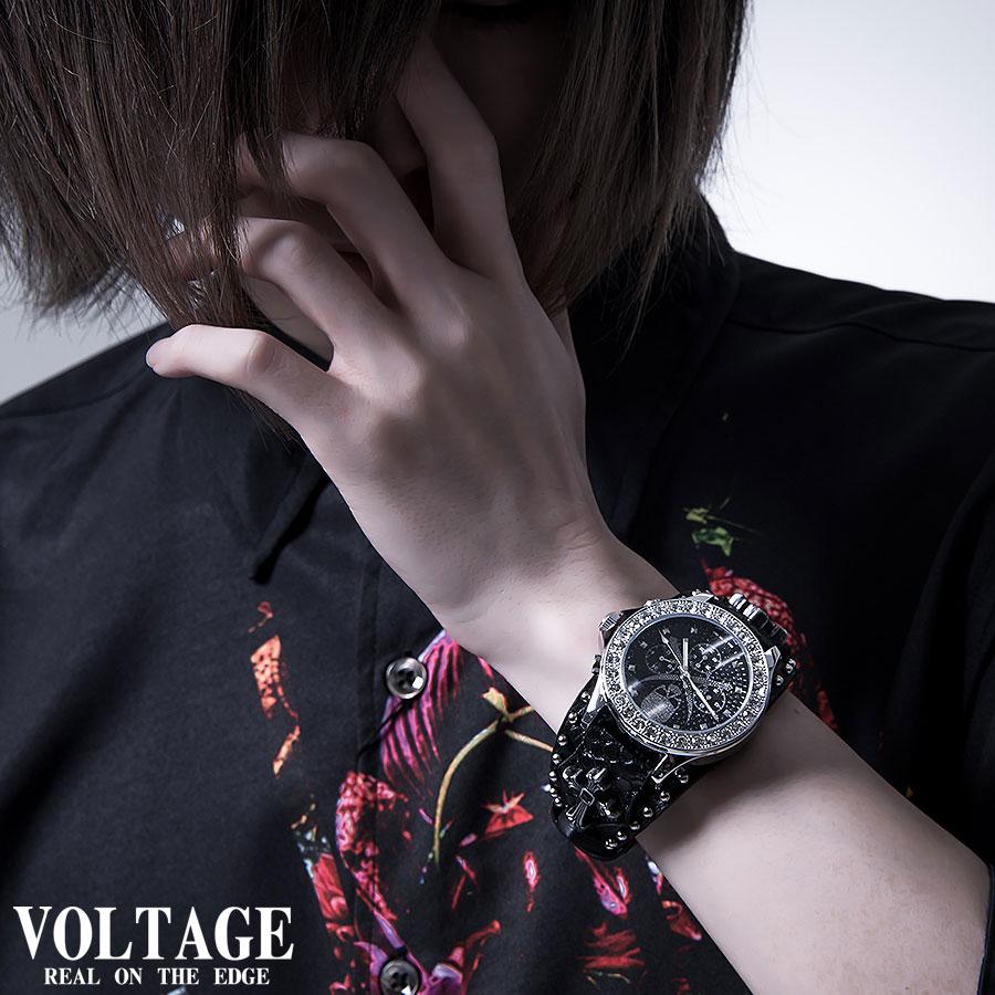 腕時計 スタッズ ベルト クロス コンチョ ウォッチ ブラック 黒
