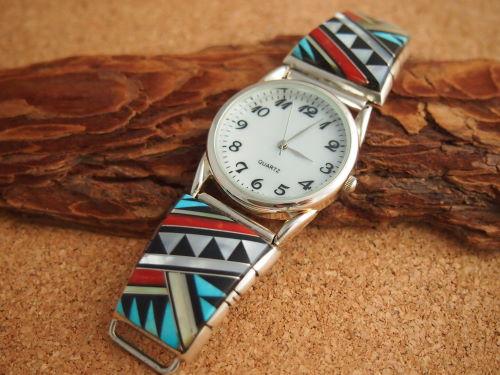 インディアンジュエリー・ナバホ族 Jerry N. Platero(ジェリー・N・プラテロ)作 インレイ・Men'sブレスウォッチ(腕時計)