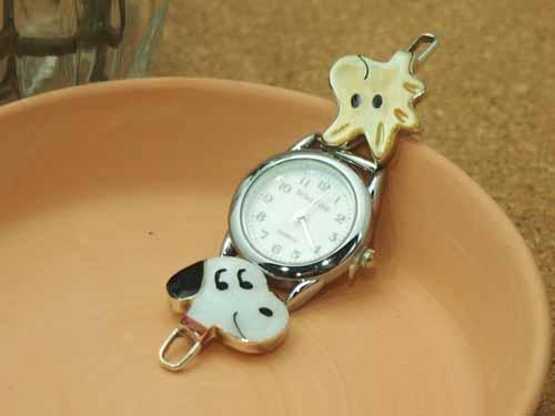 インディアンジュエリー・ズニ族 Paula Leekity(ポーラ・リーキティ)作 インレイ・ダブルフェイスモチーフ時計:インディアンジュエリー SILVER501
