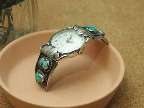 インディアンジュエリー・ナバホ族 60~70年代 USED ターコイズ Men'sブレスウォッチ(腕時計)