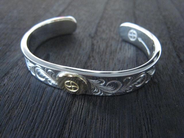 ☆アメカジ系アクセ☆ 選択 silver501 original 幅太 おトク Ladies'バングル 唐草とK18ホイールデザイン