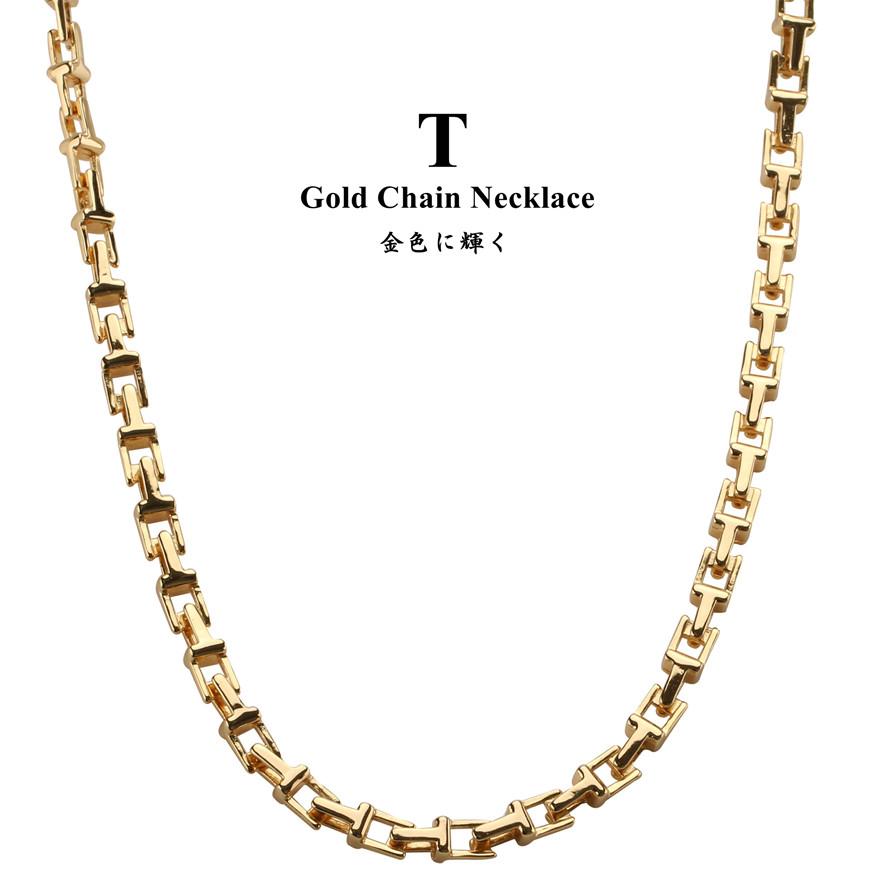 ゴールド チェーン ネックレス シンプル メンズ 人気  18金仕上げ Tチェーンネックレス ゴールド 金 チェーン メンズ ネックレス tチェーン リンク 45cm 50cm 60cm 70cm