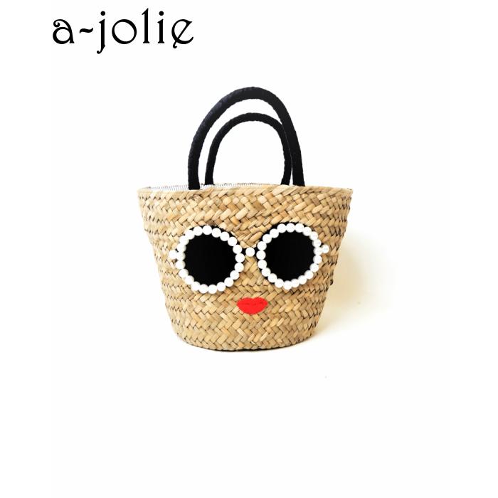 a-jolie(アジョリー) パールサングラスちゃん 内側ストライプかごバッグ ミニ