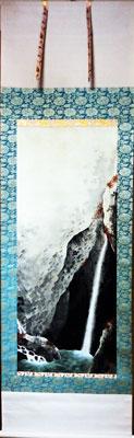 菱田春草】 「飛泉遊猿図」 版画(巧芸画) 絹本・軸装・掛け軸・掛軸】