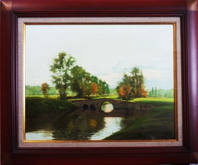 林朝路 「ジュイーヌ河畔の朝」 油絵(キャンバス・油彩) 10号  額装