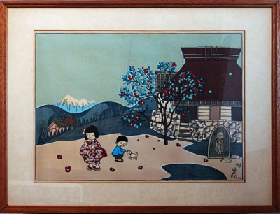【谷内六郎】 「椿」 版画(木版画) 10号大 額装