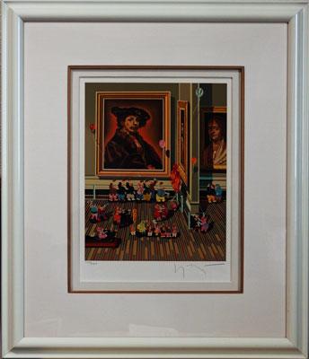 ヒロヤマガタ 「レンブラント」版画(シルクスクリーン) 4号大 額装 美術