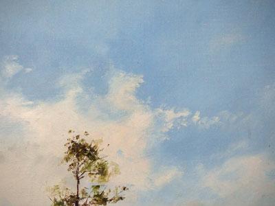 林朝路】 「風景」 油絵(キャンバス・油彩) 3号  額装 景色
