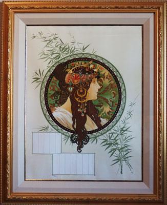 アルフォンスミュッシャ 「ブルーネット(2)」 版画(リトグラフ) 限定300部 20号大 額装