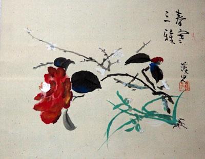 【富田渓仙(渓山人落款)】 「春寒三雅」 版画(巧芸画・絹本・軸装) 掛軸 【・書画肆しみづ】
