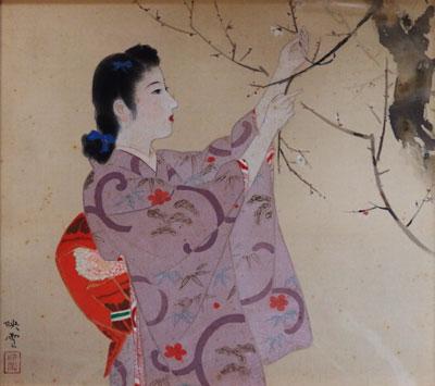 【白鳥映雪】 「浄春」 日本画(絹本・彩色) 6号 額装 美術 日本画 【・書画肆しみづ】