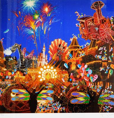 【ヒロヤマガタ】「メインストリートエレクトリカルパレード」 版画(シルクスクリーン) 15号大 500部 【・書画肆しみづ】