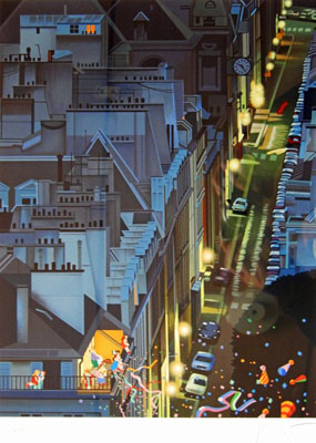 【ヒロヤマガタ】「夜のサンジェルマン通り」 版画(シルクスクリーン) 6号大 限定250部 【・書画肆しみづ】