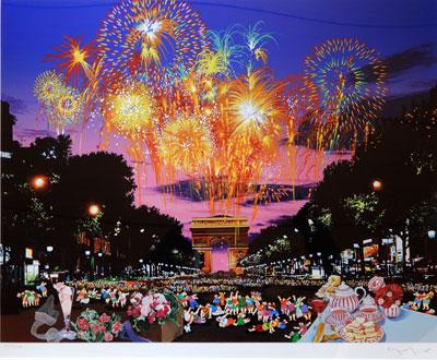 【ヒロヤマガタ】「シャンゼリゼの花火」 版画(シルクスクリーン) 20号大 限定AP50部 【・書画肆しみづ】