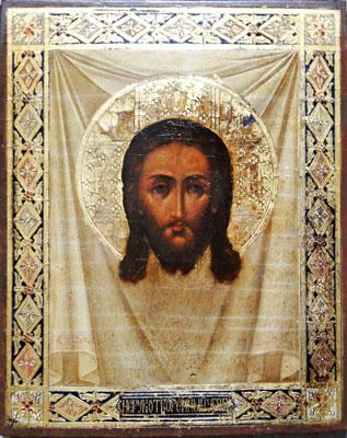 【キリスト】「イコン」 (木片・油彩・金泥) 5号大 額装 【・書画肆しみづ】