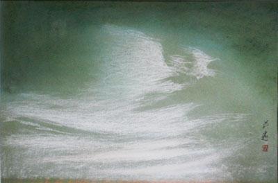 新しい到着 【岩橋英遠】 「雲」 日本画(紙本・パステル) 10号 ...