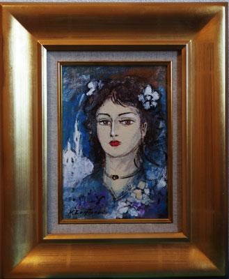 藤森悠二 「婦人青」 油絵(キャンバス・油彩) サムホール  額装