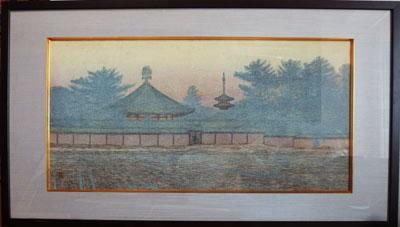 吉田善彦 「斑鳩初冬(大和四題)」 版画(木版画) 20号  額装 巨匠