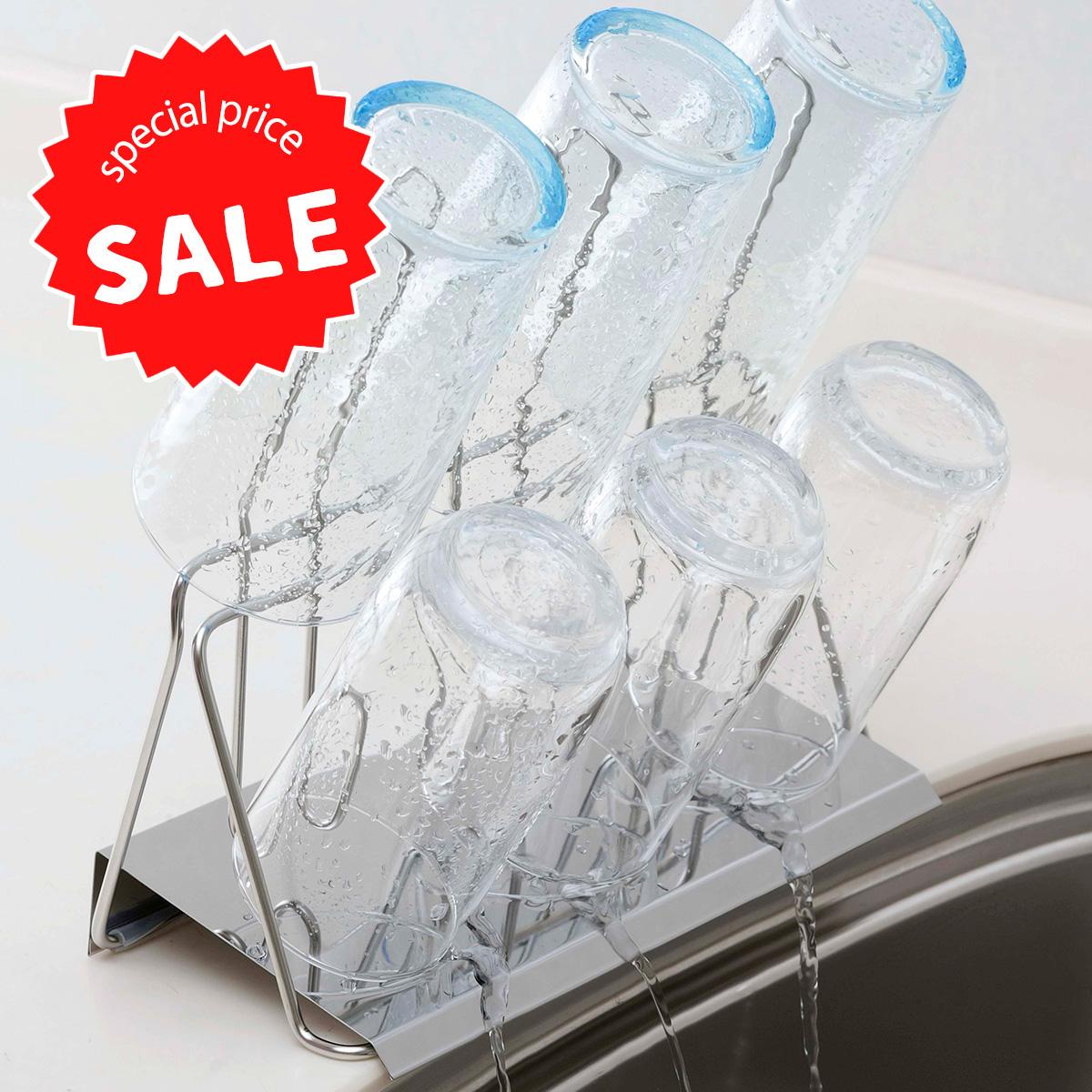 水が自然にシンクに流れる 贈答 在庫限り50%OFF スマート グラススタンド日本製 ステンレス製 コップ 正規取扱店 カップ省スペース 携帯ボトル 下村企販 燕三条 スッキリリサイクル スペース活用 ツバメ ボトル水切りコップスタンド ペットボトルまとまる マグカップ