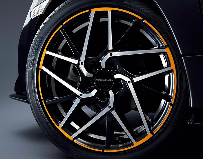 HONDA ホンダ 純正 アルミホイール 18インチ PCD114.3 INSET50 5穴 MS-037 切削 ガンパウダーブラック+オレンジ塗装 08W18-TEA-000 1本 || 18×8J 8J PCD114.3mm インセット50mm インセット50 ホンダ純正 アルミ ホイール 交換 車 CIVIC シビック