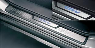 HONDA ホンダ CR-V ホンダ純正 サイドステップガーニッシュフロント(CR-VロゴLEDブルーイルミ付)/リアセット(ステンレス製)【 2009.09~2011.10】||