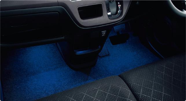 HONDA ホンダ NONE N-ONE エヌワン ホンダ純正 フットライト(LEDブルー照明/ドア開閉・スモールライト連動/フロント用 左右2個セット) 2012.11~次モデル || ライト 車 内装 室内 イルミネーション イルミ 後付け 照明 アクセサリー