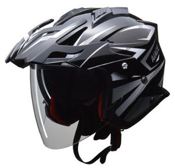 LEAD リード工業 AIACE アドベンチャーヘルメット ブラック Mサイズ | おすすめ ジェット ヘルメット ヘルメ バイク 原付 レディース シールド インナー 内装 バイザー 着脱 交換 かっこいい ブラック 風 雨 対策 あご紐 ワンタッチ バイク用品 リード ポイント消化