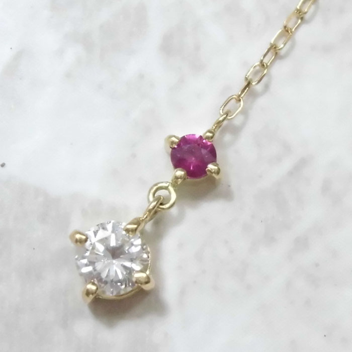 レッドベリル ネックレス simple-isオリジナルデザイン18金 ビスクバイト ダイヤモンド 0.2ct 人気シンプルコーデ 大人かわいい