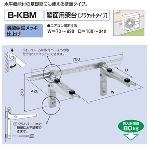 材料マーケットのザイマ 気質アップ 電材 家電 工具ならお任せ下さい バクマ工業 壁面用 取寄商品 B-KBM スピード対応 全国送料無料 溶融亜鉛メッキ仕上げ エアコン室外ユニット用据付架台