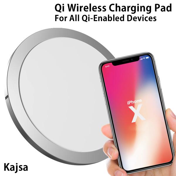 Qi対応ワイヤレス充電器 W6 Kajsa カイサ Qi Fast Wireless Charging Pad 置くだけ 薄型 iPhone8 iPhoneX 急速充電【あす楽対応可】