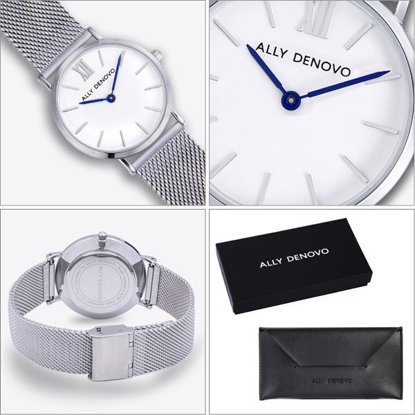 【正規販売店 最大2年保証】ALLY DENOVO アリーデノヴォ Mini New Vintage Mesh メッシュベルト 腕時計 30mm シルバー  レディース AS5005.1 AS5005.2 AS5005.3 ブランド ギフト プレゼント 安心 信頼 【あす楽対応可】