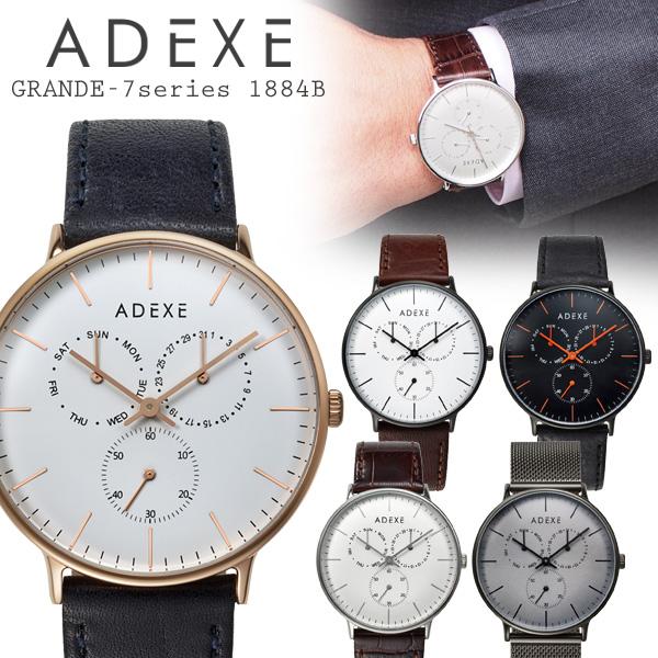 ADEXE アデクス 腕時計 GRANDE-7series 1884B メンズ レディース ユニセックス マルチファンクション スモールセコンド付 アナログ 日本製ムーブメント シンプル おしゃれ プレゼント ギフト 【送料無料】 【あす楽対応可】
