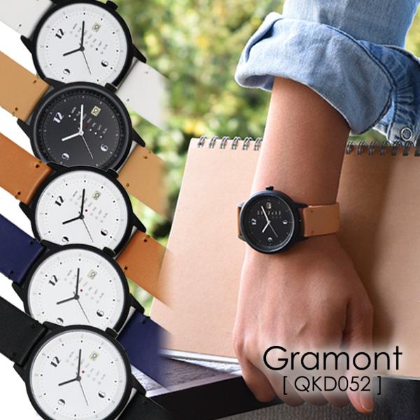 0dfc987e19 GramontグラモンQKD052腕時計メンズレディースユニセックスカジュアルシンプル日付表示合皮ベルトプレゼント