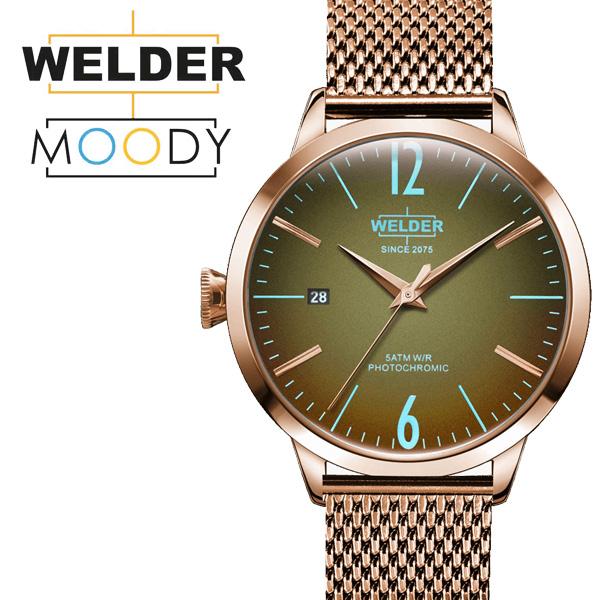 WELDER MOODY/ウェルダー ムーディー 38mm 偏光ガラス メッシュベルト ローズゴールド 三針 WRC625 プレゼント 贈り物 ギフト 【送料無料】